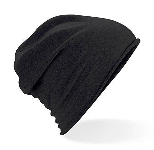 Bonnet femme bonnet homme en jersey de coton Noir - Noir