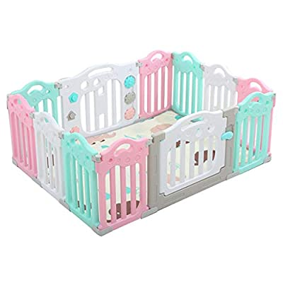 Household Infant Toddler Fence Playpen, Children Kid Safety Playards Crawling with Mat, for Indoor/Outdoor/Tummy Time/Playroom Nursery