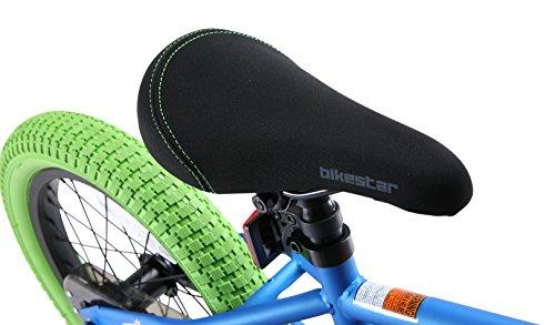 BIKESTAR Bicicletta Bambini 4-5 Anni da 16 Pollici ★ Bici per Bambino et Bambina BMX con Freno a retropedale et Freno a Mano ★ Blu & Verde - 5