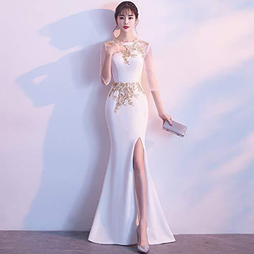 YT-RE Weiß Split Cheongsam Kleid Bankett Abendkleid Würdevolle Atmosphäre Meerjungfrau Gold Seide Perspektive Halbarm Kleid, Weiß, s (Gold Und Weißen Kleid)
