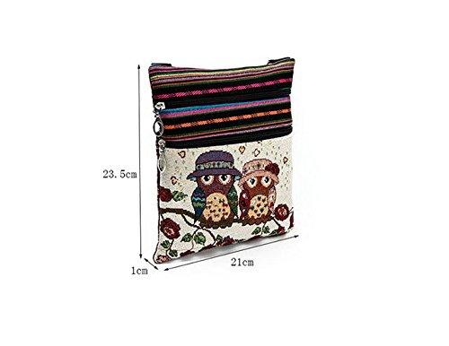 LCsndice Süße Umhängetasche Bohemian Zipper Bag Schultertasche Messenger Bag Owl Printed Frauen Satchel (Owl Bags Messenger)