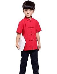 100% Fait Main Chemise Chinoise Garçon Vêtement Kung Fu Tai Chi Mode Enfant #102