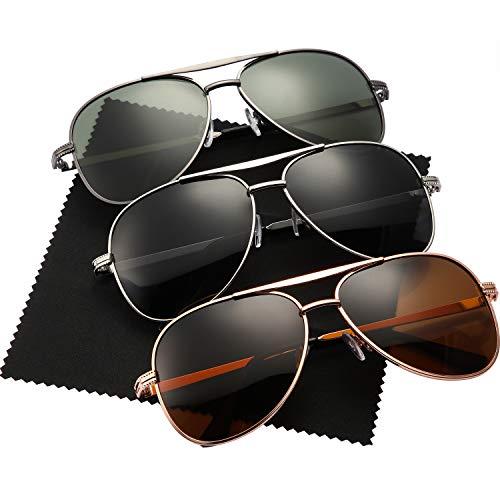Geyoga 3 Paare Flieger Sonnenbrillen für Männer Vintage Sonnenbrillen für Damen Metall Rahmen im Klassischen Stil, 3 Farben