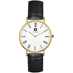 Matt gold men's ladies' Analog Watch with brown leather strap - hand crafted by VON FLOERKE