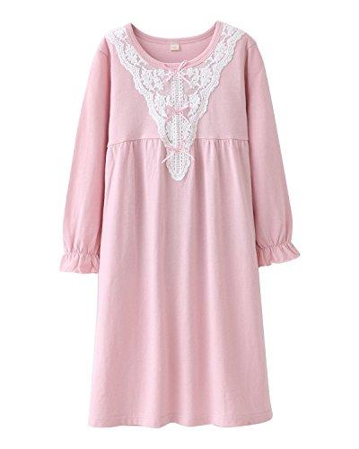 Nachthemden für Mädchen Spitze Nachthemd für Herbst-Winter 100% Baumwolle 3-13 Jahre (6-7 Jahre, Rosa Spitze)