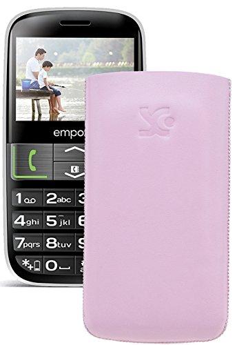 Original Suncase Tasche für / Emporia EUPHORIA V50 / Leder Etui Handytasche Ledertasche Schutzhülle Case Hülle - Lasche mit Rückzugfunktion* In Rosa