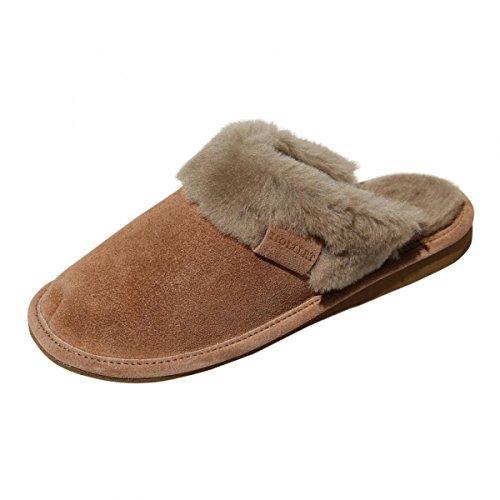 Lammfell Hausschuhe - Malibu Damen Pantoffeln Fell Schuhe Größe EUR 42, Farbe Braun