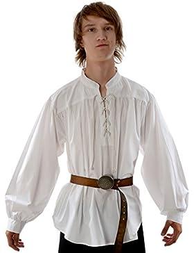 HEMAD Camicia medievale da uomo pirata - Collo alto, pizzo frontale, cotone leggero - S-XXXL Bianco e Nero