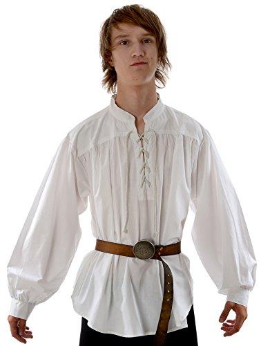HEMAD Camicia medievale da uomo pirata - Collo alto, pizzo frontale, cotone leggero - XL Bianco