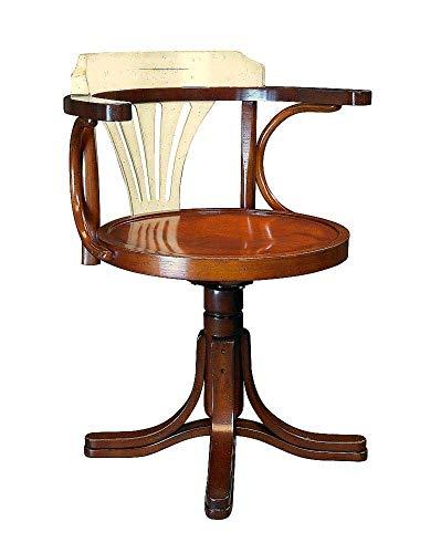 linoows Schreibtisch Stuhl, Wiener Bugholz Stuhl, Kapitän Stuhl mit weißer Rückenlehne -