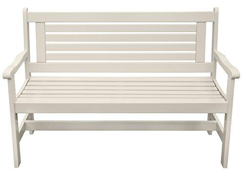 Esschert Design Bank mit Armlehne aus Holz in weiß, ca. 129 cm x 59 cm x 89 cm