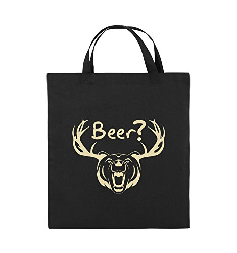 Comedy Bags - Beer? - BÄR GEWEIH - Jutebeutel - kurze Henkel - 38x42cm - Farbe: Schwarz / Pink Schwarz / Beige