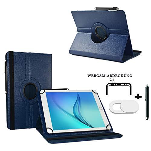 Tablet Schutzhülle 10.1 Zoll für Blaupunkt Endeavour 101G Hülle Etui Case mit Touch Pen und Webcam-Abdeckung- Blau 3in1