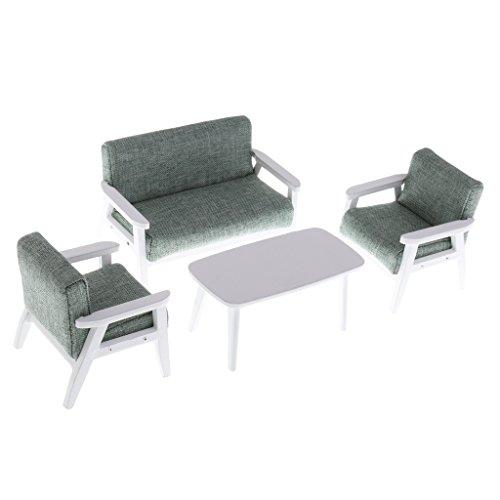 Grün-sofa-satz (Baoblaze 4er/Set 1:12 Puppenhaus Wohnzimmer Möbel Miniatur Sofa Couch Beistelltisch Satz - Grün)