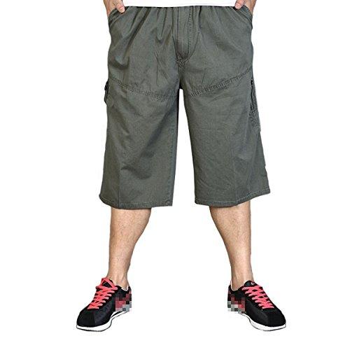 Pocket Cuffed Capris (zuzüglich Größe Sommer Overalls dünne KurzschlüsseHerrenuhr outdoors Capri Freizeit Sports abgeschnitten Hose Army Green 5XL)