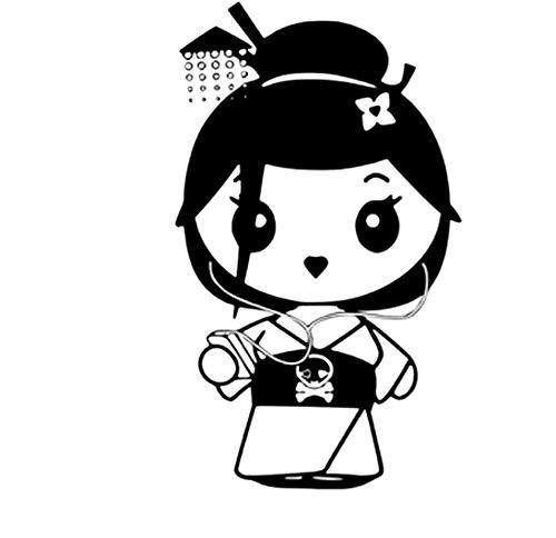 Geisha Mini (Lustige Mini Geisha Wandaufkleber kinderzimmer Kunst Applique wohnzimmer schlafzimmer Dekoration Vinyl DIY Tapete 58x23 cm)