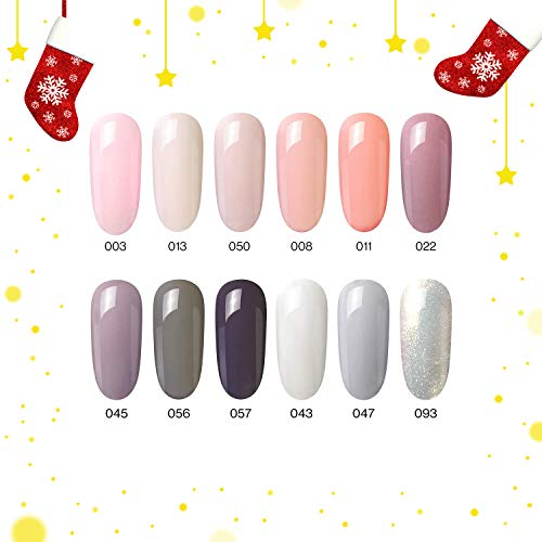 UV Nagellack Gel Gellack Set, 8ml 12 Stück PCS Grau und Rosa Farbe Gel Polish, UV LED Nagel Maniküre Von MEFA
