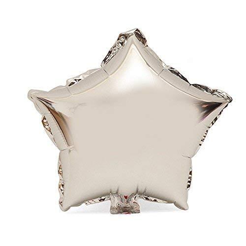 TRIXES 10 x Globos Estrella Metálica Plateado - Mylar - Ancho Pequeño: 25cm - para Fiestas, Bodas y Celebraciones de Cumpleaños