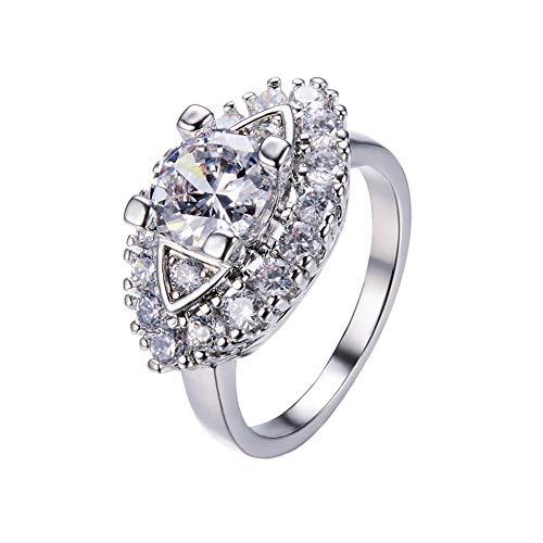PAMTIER Damen Silber Diamant Marquise Ring Auge Muster Design Weiß Größe 54