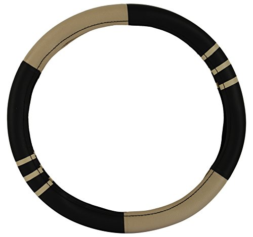 AutoSure Universal Steering Wheel Cover (Black and Beige with Strips)