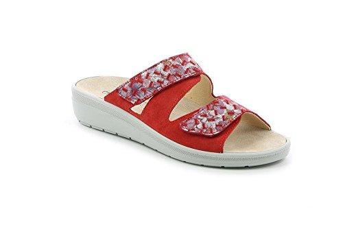 GRÜNLAND Daby, Pantofole Aperte sul Retro Donna Rosso