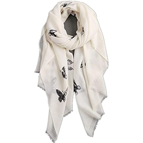 Borlas de Premium blanco tinta mariposa lana caliente mujeres chal de otoño e invierno largo párrafo gran