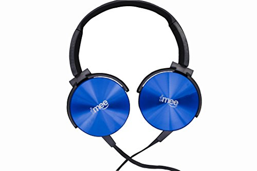 iMee Rock Star On-Ear Extra Bass Light Weight Headphones (Blue) Stereo Stylish Wired Headphones for Mobile with mic