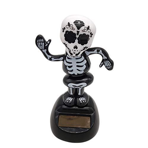 (Hjgshd Solarbetriebene Autozubehör Halloween Skull Tanzen Swing Animated Bobble Tänzer Spielzeug Auto Dekor (A))