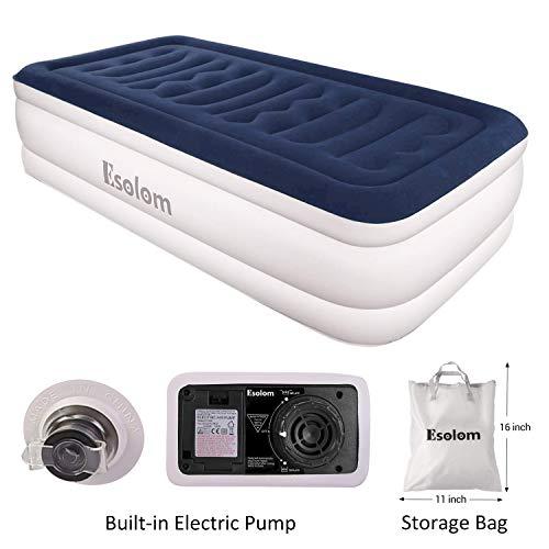 ESOLOM Premium Materasso Gonfiabile, con e Pompa Elettrica Integrata (Materasso Gonfiabile Singolo), Materasso Campeggio