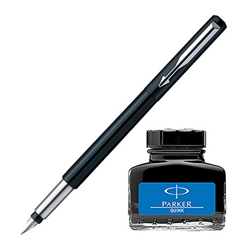 Parker Vector Standard CT Fountain Pen - Black + Quink Ink Bottle - Blue (30ML)  available at amazon for Rs.328