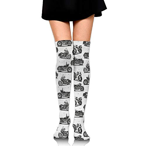 Kailey hello Cute Motorcycle Womens Socks Over The Knee Cotton Socks Thigh High Stockings (Open Toe Thigh High Socks)