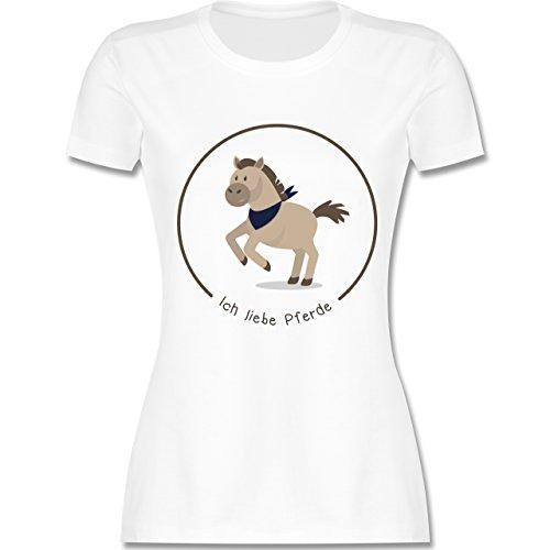 Pferde - Ich liebe Pferde - tailliertes Premium T-Shirt mit  Rundhalsausschnitt für Damen Weiß