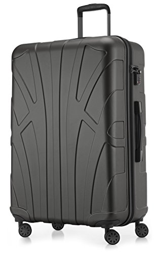 SUITLINE - Hartschalen-Koffer Koffer Trolley Rollkoffer Reisekoffer, TSA, 76 cm, 110 Liter, Graphit
