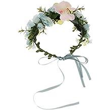 ROSENICE Corona de Flores para Cabello Flor corona diadema corona Floral Garland de la mujer niña (lago azul)