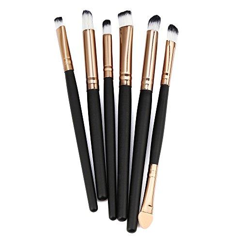 SHOBDW Pinceaux Maquillage Cosmétique Professionnel Cosmétique Brush Beauté Maquillage Brosse Makeup Brushes Cosmétique Fondation avec Sac Abordable, 6pcs Set/Kit Noir