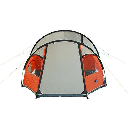 10T Mandiga 3 Orange - Tunnelzelt für 3 Personen, Campingzelt mit großer Schlafkabine, wasserdichtes Familienzelt mit 5000mm, Zelt mit 2 Eingängen und 2 Fenstern, Festivalzelt mit Dauerbelüftung, 3 Mann Zelt mit Tragetasche, Zeltheringe und Zeltgestänge - 4