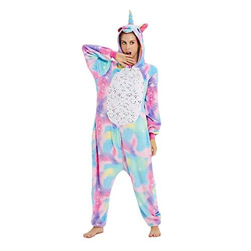 Mystery&Melody Einhorn Pyjamas Cosplay Einhorn Kostüme Tiere Nachtwäsche Flanell Overalls Unisex-Erwachsener Nachtwäsche Party Kostüme (L, Bunt)