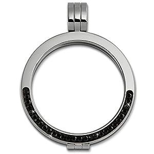 Amello Coin Edelstahl-Kettenanhänger silber mit Zirkonia schwarz – Edelstahlanhänger – Coinsfassung für Damen – Edelstahlschmuck Stainless Steel ESC002S
