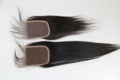 40,6 cm brésiliens vierges Fermeture dentelle cheveux soyeux droite/haut Fermeture (8,9 x 10,2 cm) couleur naturelle 120% Densité