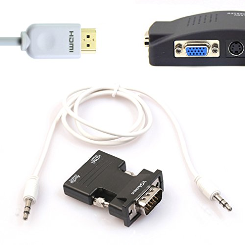 Preisvergleich Produktbild Tonsee HDMI Buchse zu VGA HD männlich Adapter mit 3Ft 3,5 mm Stereo Kabel (schwarz)