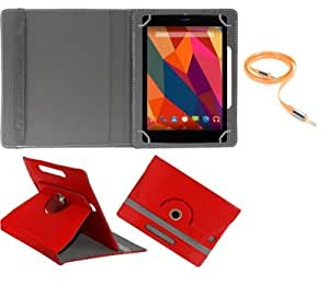 Gadget Decor (TM) PU LEATHER Rotating 360° Flip Case Cover With Stand For Iball 3G Q45 + Free Aux Cable -Red
