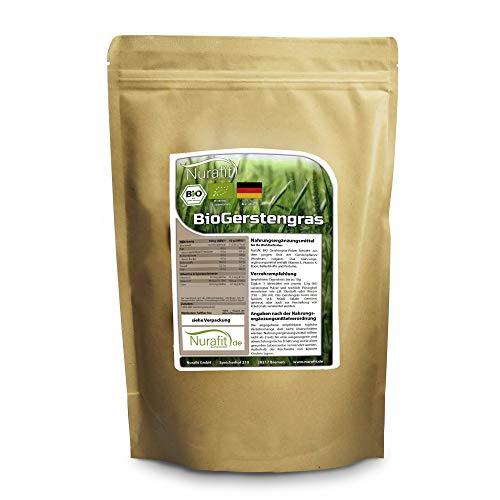 Nurafit BIO Gerstengras Pulver | Smoothie-Pulver aus deutschem Anbau | 1000g / 1kg zertifizierte Spitzenqualität | für Shakes mit Vitaminen, Mineralstoffen und Spurenelementen -
