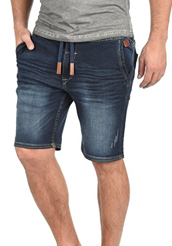 BLEND Bartels Herren Jeans-Shorts kurze Hose Denim aus hochwertiger Baumwollmischung, Größe:S, Farbe:Denim Darkblue (76207) (Denim Leder-shorts)