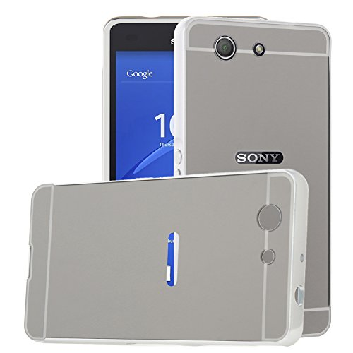 TOCASO Spiegel Aluminium Schutzhülle Hardcase Hülle für Sony Xperia Z3 Compact Hard PC Hülle Handyhülle für Sony Xperia Z3 Compact Handytasche Schale Etui Chrom Glitzer Cover -Silber