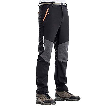 LHHMZ Men's Soft Shell Fleece Lined Hiking Trousers Outdoor Waterproof Breathable Thicken Winter Warm Walking Climbing Pants 4
