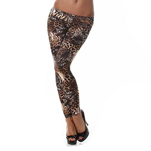 Damen Print-Leggings mit Muster | Bunte Leggins für jeden Tag | Sporthose für Yoga Zumba Gym Fitness Workout (L-XL, Tiger Leo) - London Tiger