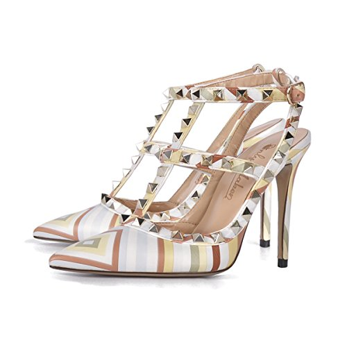 Onlymaker Damen Sandalen Pumps Pointed Toe High Heels mit Nieten Slingback Schnalle Mehrfarbig