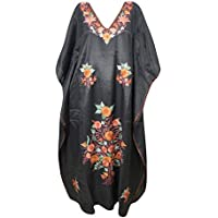 Mogul Interior Women Kaftan Maxi Dress Black Floral Embroidered Kimono Caftan One Size