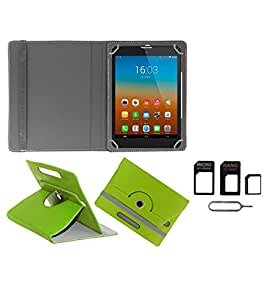Gadget Decor (TM) PU Leather Rotating 360° Flip Case Cover With Stand For Amosta EduOne 7D2A + Free Sim Adapter Kit - Green