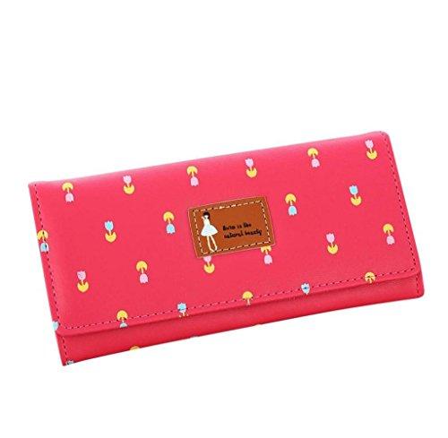 Geldbörsen, Rcool Frauen Floral Umschlag Muster lange Coin Purse Karte Tasche Handtasche (Hot Pink) Hot Pink Karten-umschläge
